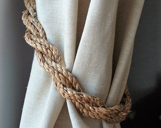 Rustic Manila Rope Curtain Tiebacks /shabby chic /nautical decor/ vintage style tie backs/ rope ties/ rustic tie-backs / nautical curtains