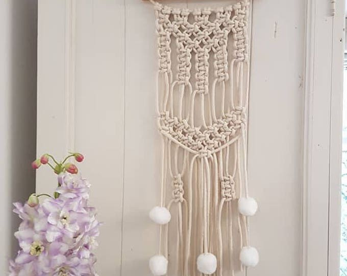 Small cotton cord wall hanging macrame with pom pom tassels tapestry office nursery decor gift Christmas decor wall hanging