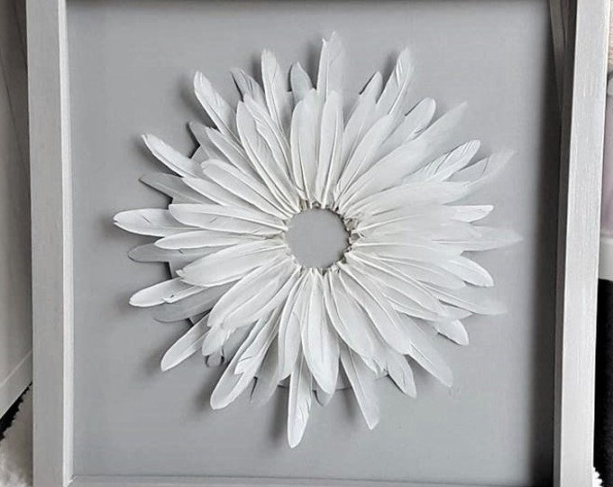 Handmade Bohemian Feather Wall Art Framed Hand- painted Grey White 3D