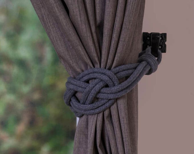 Dark grey Cotton Rope Carrick Bend Knot Curtain Tie-backs Large Knot Nautical Style Shabby Chic Rope Curtain Gray Tiebacks Hold-backs Slate