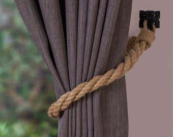 Hemp Rope Twist Tiebacks/ nautical ties/ rope curtain tiebacks/ shabby chic windows / curtain holdbacks/ rope ties/ nursery curtain tiebacks