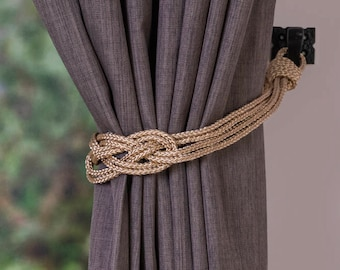 Christmas decor rope gold knot curtain tiebacks small shabby chic nautical style festive curtain hold-backs holiday decoration home red