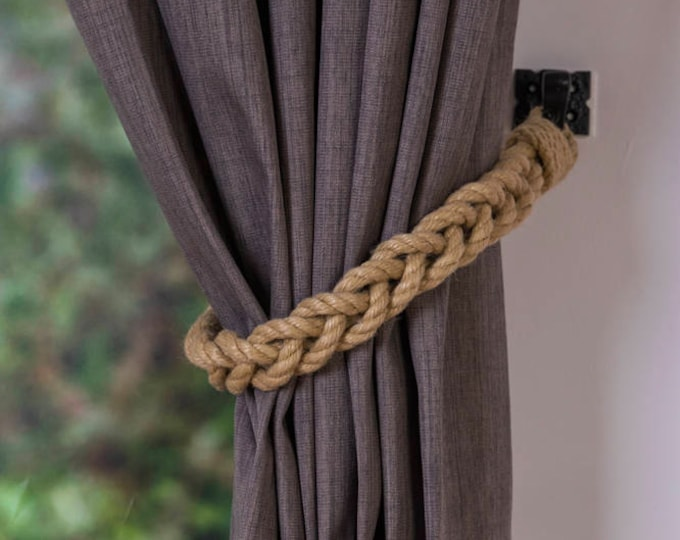 Beige Hemp Rope Braided Curtain Tie-Backs /Christmas nautical living room window treatment/ Drape hold backs/ shabby chic curtain tiebacks
