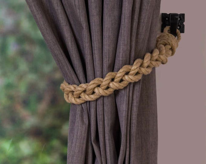 Chunky Beige Hemp Rope Braided Curtain Tie Backs / nautical living room window treatment/ Drape hold backs/ shabby chic curtain tiebacks