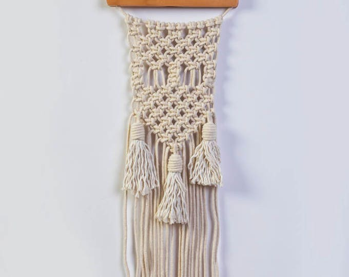 Small cotton cord wall hanging macrame with tassels tapestry office nursery decor gift Christmas wallhanging