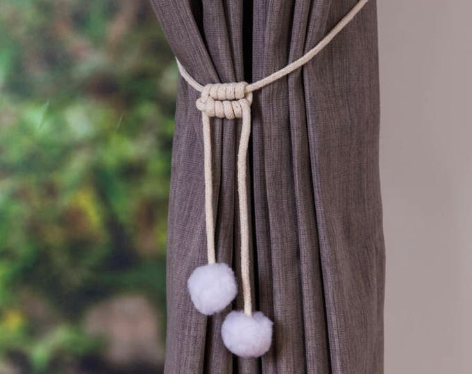Handmade snow ball white pom pom curtain tiebacks Christmas gift seasonal decor hold backs pom-pom natural cotton cord  nursery nautical