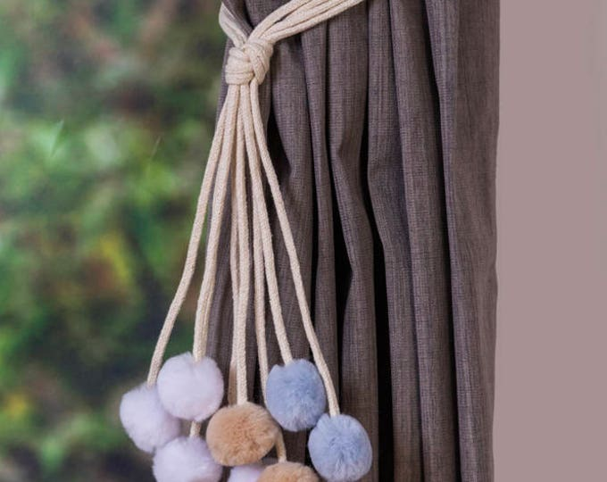 Handmade multi-color pom pom curtain tiebacks Christmas gift seasonal decor hold backs pom-pom beige grey white white nursery nautical