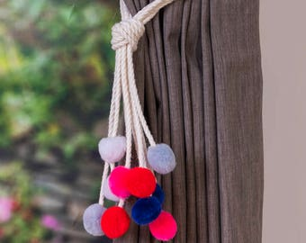Handmade multi-color pom pom curtain tiebacks Christmas gift seasonal decor hold backs pom-pom pink red blue grey white nursery nautical