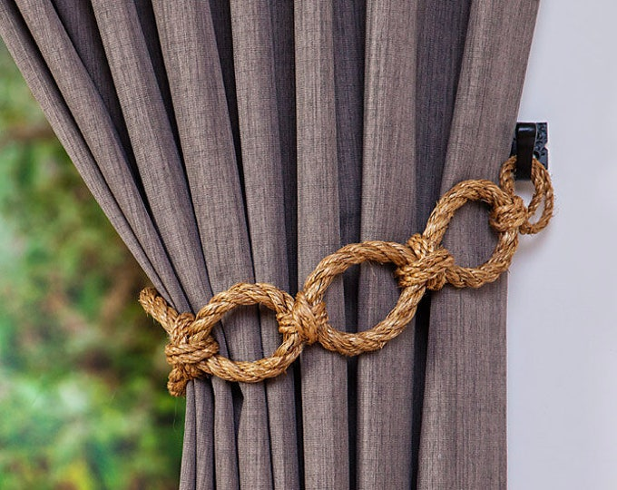 Manila Rope Chain Chunky Curtain Tiebacks Nautical Shabby Chic Living Room Home Decor Curtain Tie-Backs Rope Hold-Backs Window Treatment