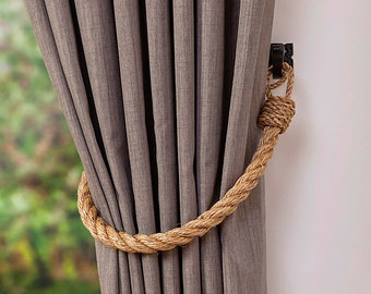 Chunky rope tiebacks/ Rustic ties/ Manila Rope Tie-backs/ Curtain Tiebacks/shabby chic windows/ vintage holdbacks/ nautical ties