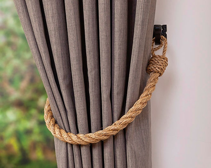 Chunky rope tiebacks/ Rustic ties/ Manila Rope Tie-backs/ Curtain Tiebacks/shabby chic windows/ vintage holdbacks/ nautical ties