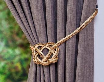 Sisal Rope and Manila Rope Celtic Heart Curtain Tiebacks/ shabby chic ties/ vintage/rustic hold-backs /nautical tiebacks/ nautical windows