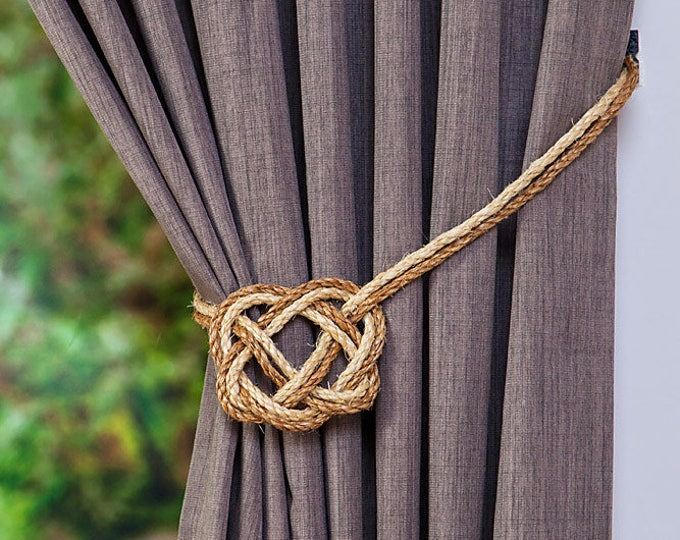 Sisal Rope and Manila Rope Celtic Heart Curtain Tiebacks/ shabby chic ties/ vintage/rustic hold-backs /nautical tiebacks/ nautical windows