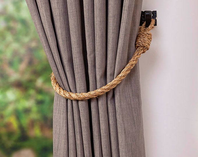 Manila Rope Curtain Tie-Backs Thin 1.4 cm Nautical Hold-backs Rustic Natural Rope Tiebacks