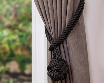 Black Rope Monkey Fist Knot Curtain Tiebacks Halloween Decor