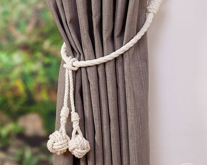 White Cotton Rope Monkey Fist Knot Tassel Curtain Tie Backs / Shabby chic curtain ties / nautical curtain hold back/ white rope tie backs