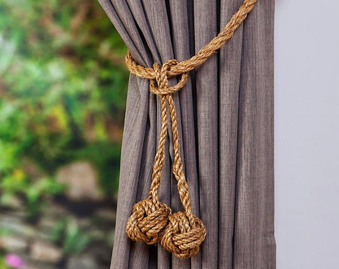 Double Small Manila Rope Hanging Monkey Fist Knot Tieback - Curtain Tie Backs,  Nautical Tieback, Rope Tie back, Rustic Hold Backs, Holdback