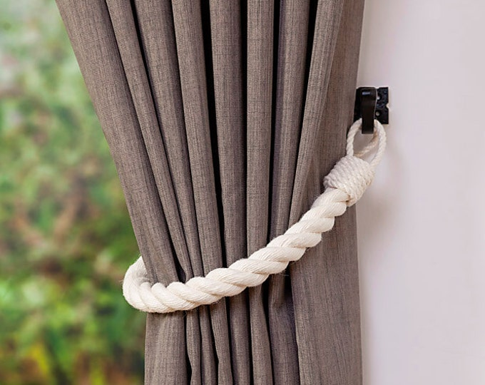 White Rope Tiebacks - Andrea Cook Interiors