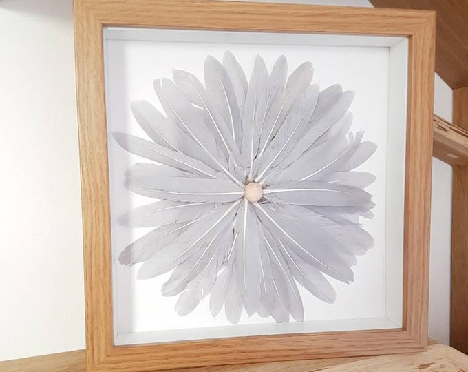 Handmade Grey Feather Flower Circle Modern Wall Art Grey Unique Framed Art Boho Nautical Living Beach House Shabby Chic