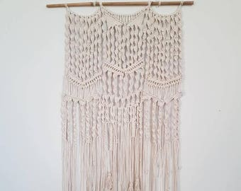 Cotton cord wall hanging macrame with tassels and beads bohemian living room wall art boho decor shabby chic tapestry