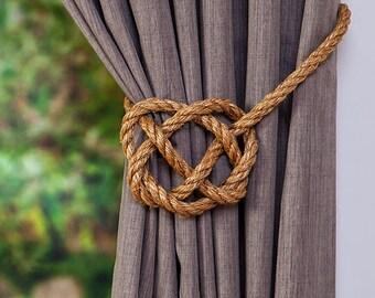Large Manila Rope Celtic Heart Curtain Tie Backs / Rustic Ties / Rope Hold Backs / Shabby Chic Tie backs/ Window Treatment Curtain Ties