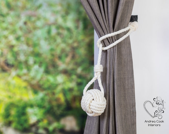 Large Ivory White Spliced Monkey Fist Tieback -  Nautical Decor, Curtain Tieback, Rustic Tiebacks, Shabby Chic Curtains, Curtain Tieback