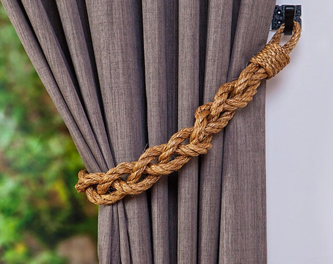 Chunky Braided Manila Rope Curtain Tiebacks /Nautical/ Boho/ Beach/ Rustic/ Industrial/ Rope Curtain Tie-backs/ Brown Natural Rope Tiebacks