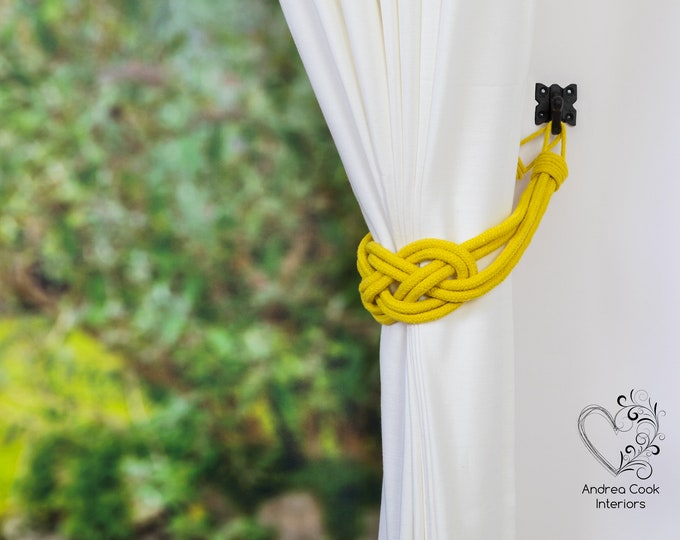 Large Daffodil Yellow Double Carrick Bend Tiebacks - Yellow Tiebacks, Yellow Hold Back, Yellow Holdbacks, Yellow Curtain Ties, Rope Tie back