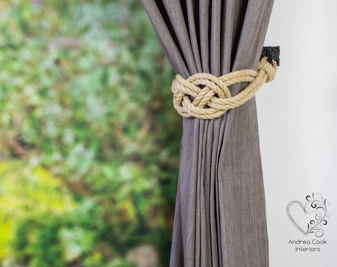 Large Beige Rope Carrick Bend Knot Curtain Tie backs - Nautical Tiebacks, Curtain Hold back, Tie Backs for Curtains, Rope Tieback, Ties