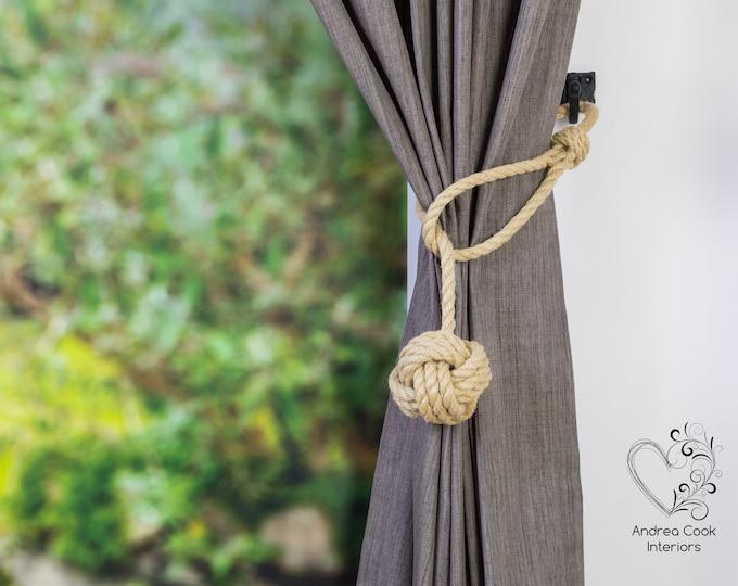 Medium Beige Spliced Monkey Fist Tieback - Rope Ties, Shabby Chic Curtains, Tie Backs, Curtain Holdbacks, Nautical Decor, Curtain Tie Back