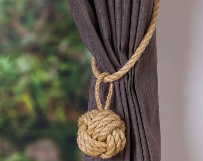 Large Monkey Fist Knot Natural Sisal Rope Curtain Tieback Cord rustic window shabby chic ties Hold backs boho rustic ties nautical decor
