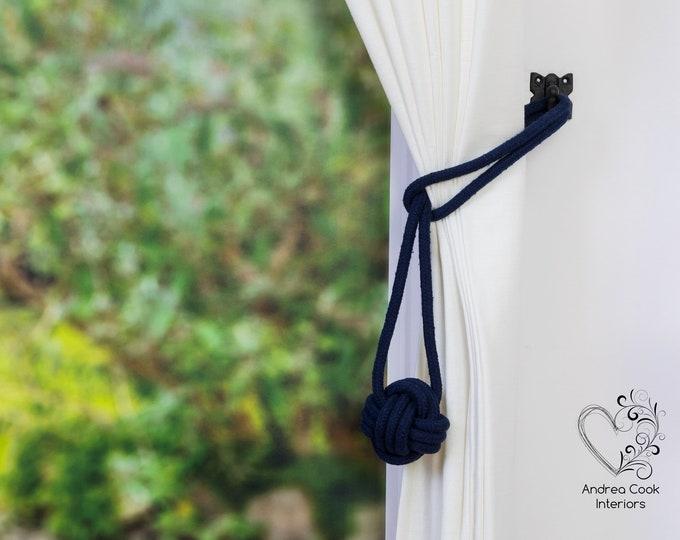 Medium Navy Blue Monkey Fist Tieback - Nautical Tieback, Curtain Hold Back, Curtain Tie Back, Curtain Tieback, Curtain Holdback, Curtain Tie
