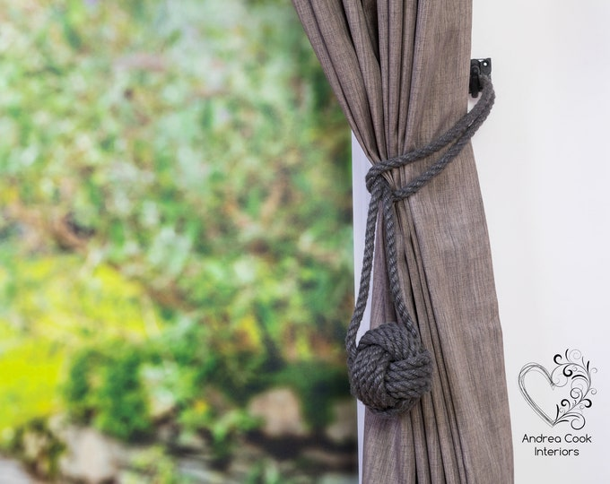 Large Charcoal Grey Rope Monkey Fist Tiebacks - Nautical Tie Back Curtain Tie, Nautical Decor, Tiebacks For Curtains, Curtain Holdback
