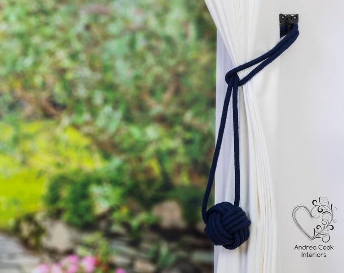 Large Navy Blue Monkey Fist Tieback - Nautical Tieback, Curtain Hold Back, Curtain Tie Back, Curtain Tieback, Curtain Holdback, Curtain Tie
