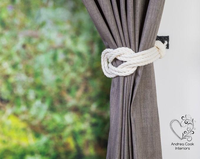 Large Ivory White Double Square Knot Tieback -  Nautical Tie Backs, Shabby Chic, Curtain Tie Back, Curtains, Curtain Holdback, Nursery Decor