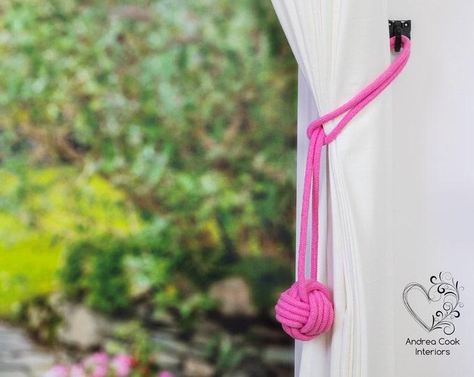 Large Rose Pink Monkey Fist Tieback - Nautical Tieback, Curtain Hold Back, Curtain Tie Back, Curtain Tieback, Curtain Holdback,