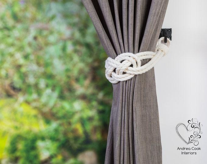 Large Ivory White Carrick Bend Knot Curtain Tiebacks -  Nautical Style Tiebacks,  Rope Curtain Tiebacks, Tie Back, Curtain Holdback