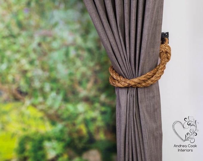 Thick Twist Manila Rope Curtain Tiebacks - Shabby Chic Tiebacks, Nautical Tiebacks, Chunky Thick Ties, Rope Tiebacks, Curtain Holdbacks