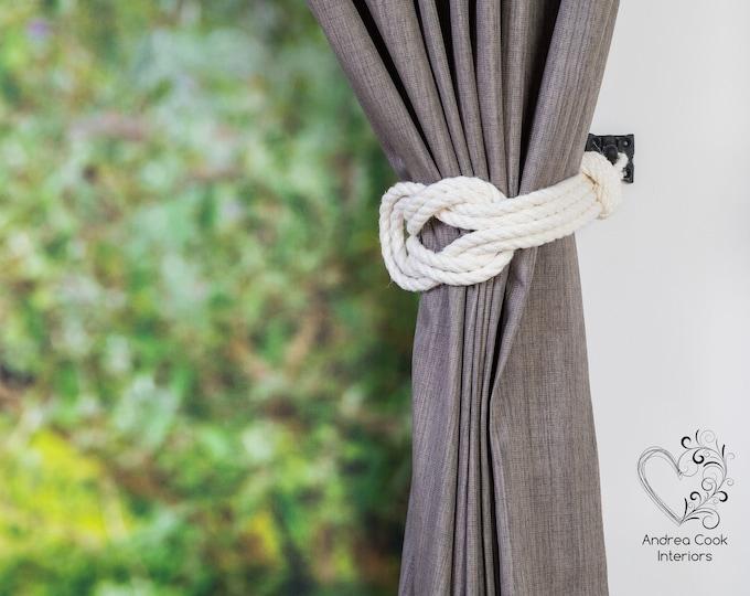 Large Ivory White Double Square Knot Holdback -  Nautical Tie Backs, Rope Tiebacks, Curtain Tieback, Curtain Holdback, Rustic Tie Back