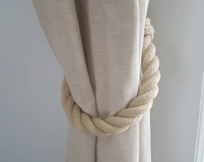 Extra Thick Beige Hemp Rope Curtain Tiebacks / chunky ties /shabby chic tiebacks/ rustic ties/ curtain holdbacks/Christmas decor