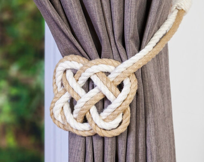 Two Tone Cotton and Hemp Rope Celtic Heart Curtain Tiebacks Nautical Nursery Heart Rope Curtain Tie-Backs white and beige