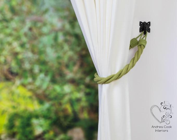 Sage Green Cord Twisted Tiebacks - Pink Tie Backs, Curtain Tiebacks, Curtain Holdback, Curtain Hold back, Cord Tiebacks, Curtain Ties
