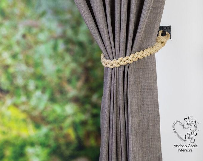 Slim Beige Braided Rope Tiebacks -  Braided Curtain Tie Backs,  Nautical Tiebacks, Curtain Holdback, Curtain Tiebacks, Rope Ties