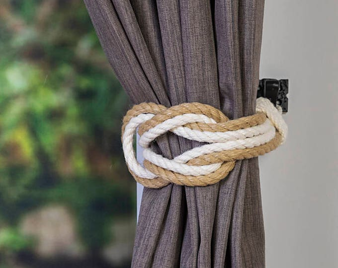 Hemp Two Tone Rope Double Square Knot Nautical Curtain Tie-Backs/ Shabby Chic beige brown Curtain hold-Backs / Nursery Window Treatment