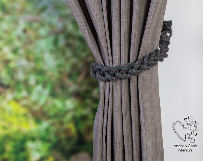 Chunky Charcoal Grey Rope Braided Curtain Tieback - Curtain Tie, Rope Curtain Tieback, Tie Back For Curtains, Curtain Holdback, Curtain Ties
