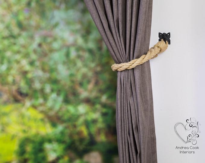 Beige Twisted Tiebacks - Nautical Tiebacks, Nautical Decor, Curtain Tie Back, Curtain Tieback, Curtain Holdback, Curtain Ties, Rustic