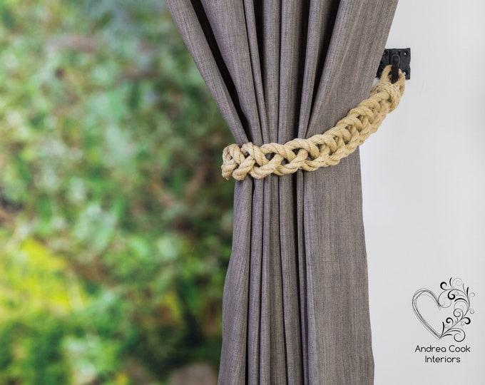 Chunky Beige Hemp Rope Braided Curtain Tie-Backs /Christmas nautical living room window treatment/ Drape hold backs, curtain tiebacks