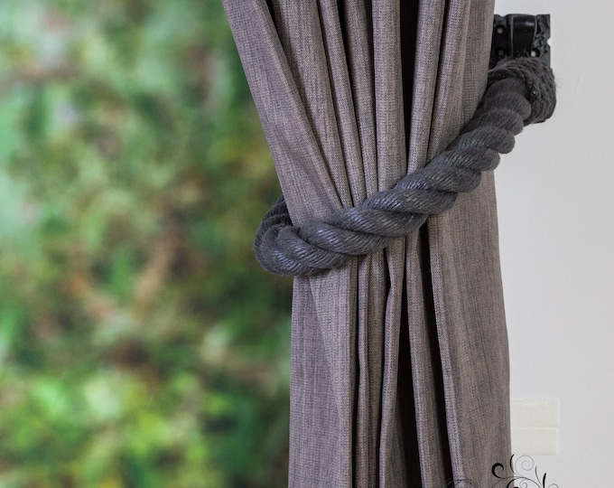 Extra Thick Charcoal Grey Curtain Tiebacks -  Chunky Tie Back, Shabby Chic Tiebacks, Rustic Tiebacks, Curtain Holdbacks, Rope Tie Back