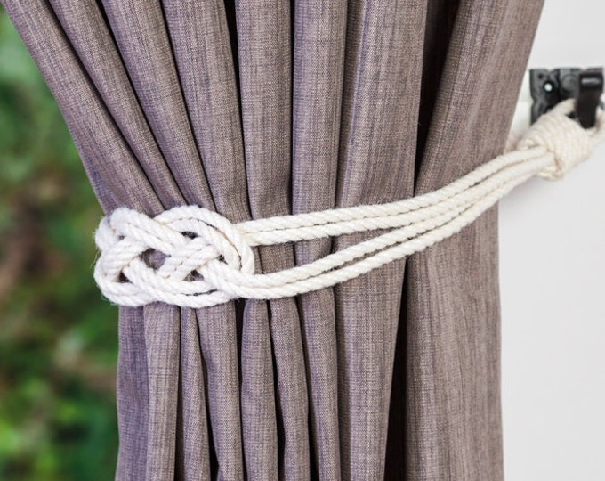 Cotton rope carrick knot curtain tiebacks small knot shabby chic nautical style beach house window treatment rope tie-backs ivory white grey