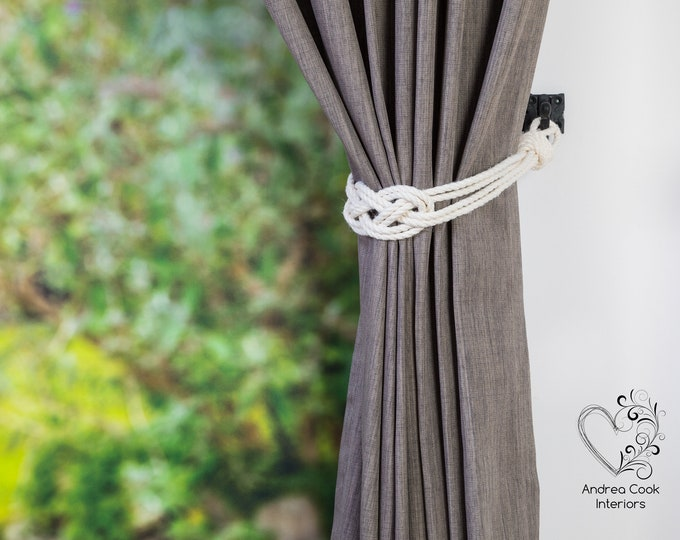 Small Ivory White Carrick knot Curtain Tiebacks -  Small knot, Curtain Tie Back, Curtains, Curtain Tieback, Curtain Holdback, Rope Curtains